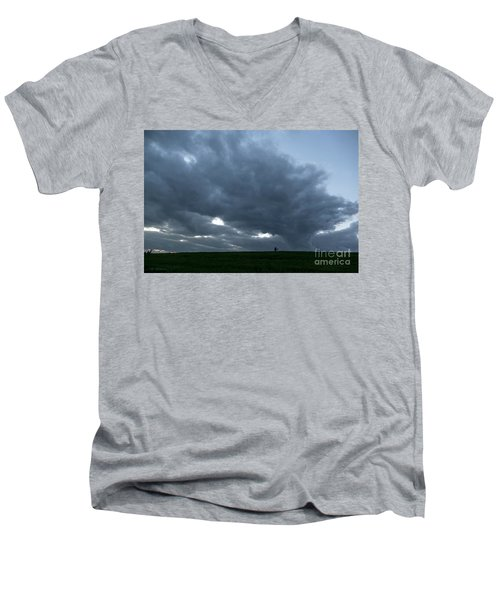 Alone In The Face Of The Storm Men's V-Neck T-Shirt