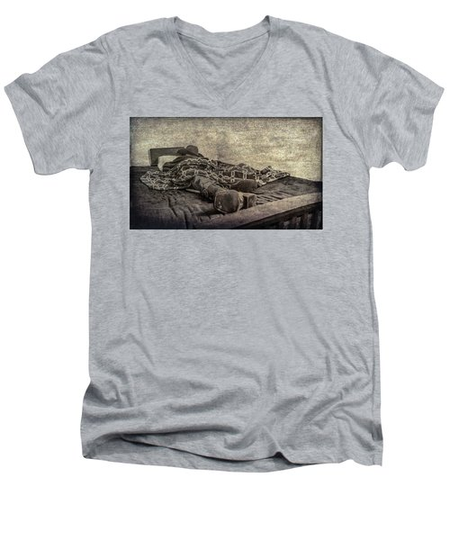 Men's V-Neck T-Shirt featuring the photograph A Long Day On The Trail by Annette Hugen