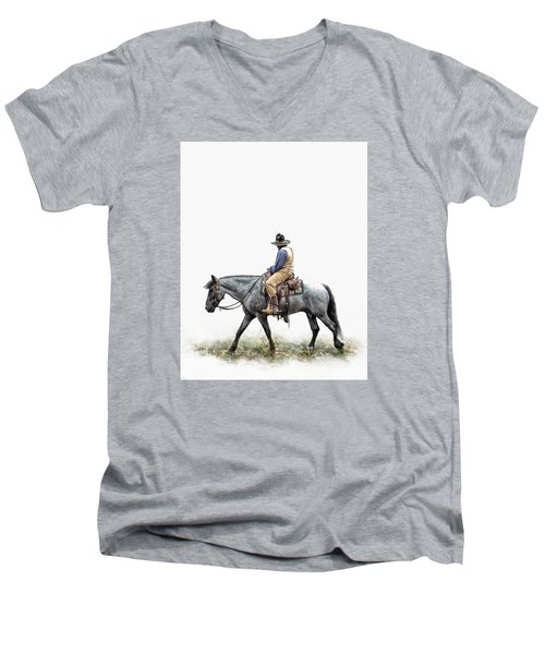 A Long Day On The Trail Men's V-Neck T-Shirt by David and Carol Kelly