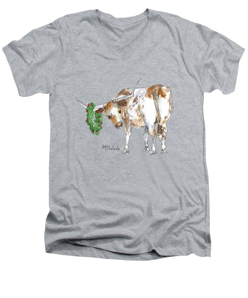 A Longhorn Christmas Leader, Come On In Men's V-Neck T-Shirt