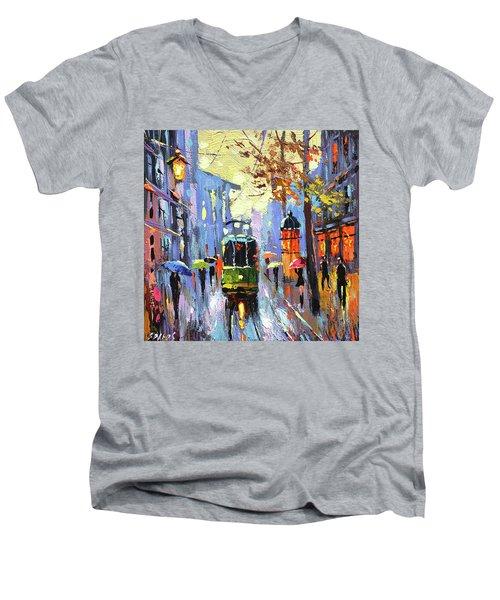 A Lonley Tram  Men's V-Neck T-Shirt