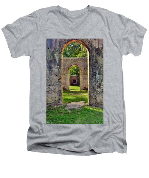 A Look Through Chapel Of Ease St. Helena Island Beaufort Sc Men's V-Neck T-Shirt