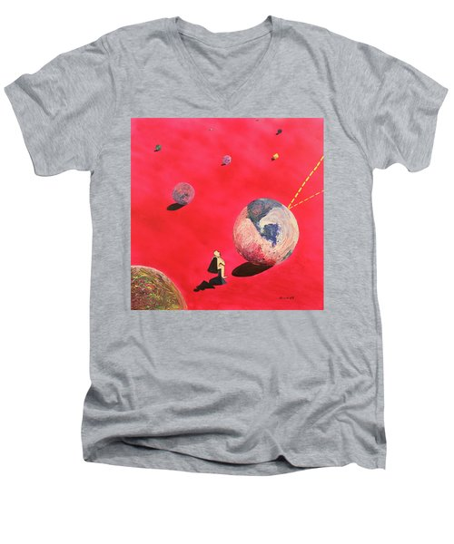 A Lot To Think About Men's V-Neck T-Shirt by Thomas Blood