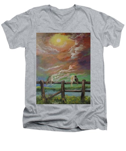 A Springtime Lovers Moon Men's V-Neck T-Shirt
