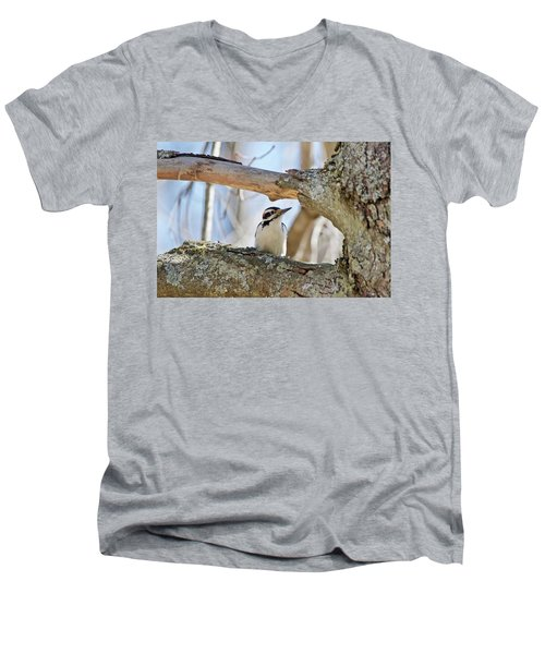Men's V-Neck T-Shirt featuring the photograph A Male Downey Woodpecker  1111 by Michael Peychich