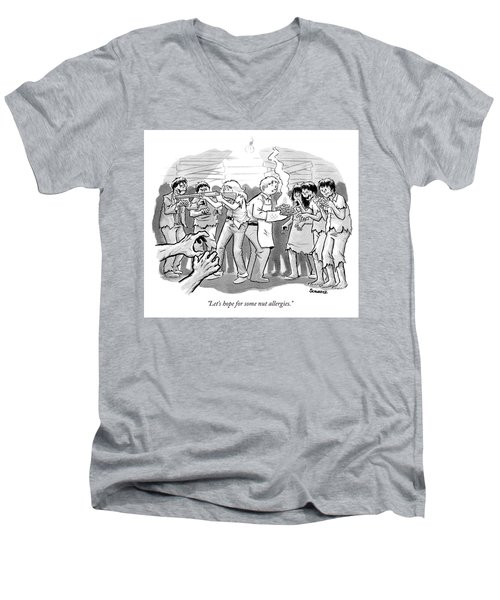 A Man And A Woman Stand In The Middle Of A Horde Men's V-Neck T-Shirt