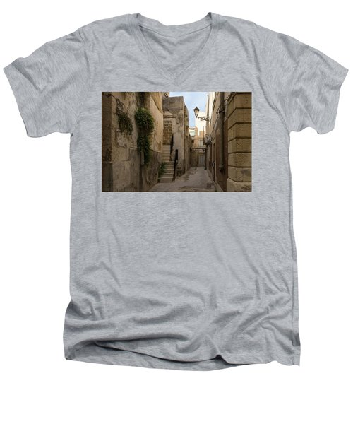 A Marble Staircase To Nowhere - Tiny Italian Lane In Syracuse Sicily Men's V-Neck T-Shirt