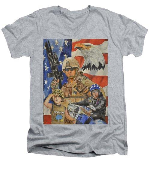 A Marine's Marine Men's V-Neck T-Shirt by Ken Pridgeon