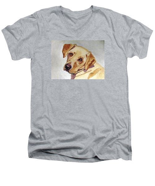 Men's V-Neck T-Shirt featuring the painting A Mellow Yellow by Angela Davies