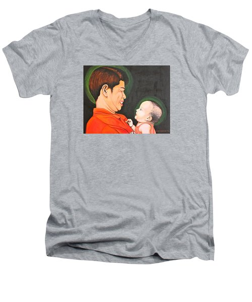 Men's V-Neck T-Shirt featuring the painting A Moment With Dad by Cyril Maza