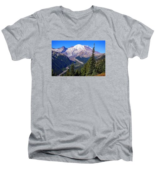 Men's V-Neck T-Shirt featuring the photograph A Morning View by Lynn Hopwood