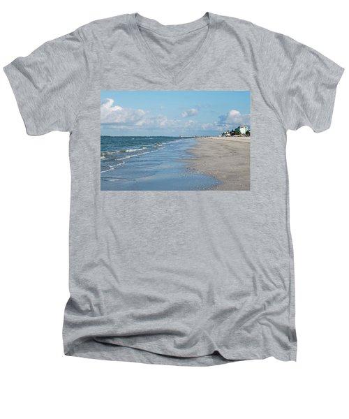 A Morning Walk On Fort Myers Beach Fort Myers Florida Men's V-Neck T-Shirt