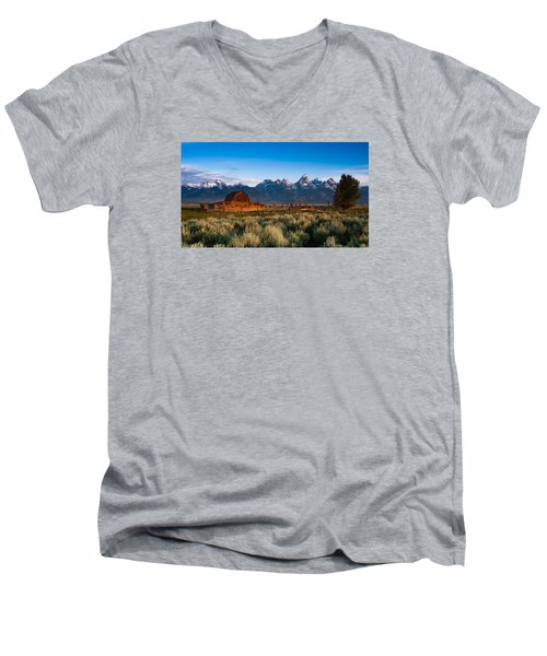 Men's V-Neck T-Shirt featuring the photograph A Moulton Barn by Monte Stevens