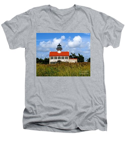 A New Day At East Point Light Men's V-Neck T-Shirt by Nancy Patterson