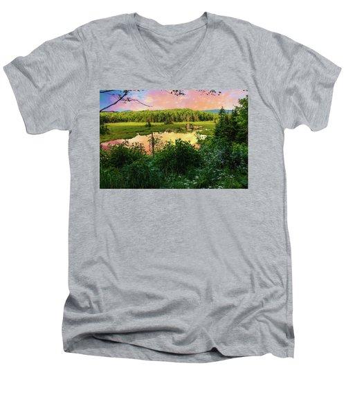 A New England Bog. Men's V-Neck T-Shirt