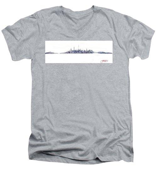 A New Year In Manhattan Men's V-Neck T-Shirt