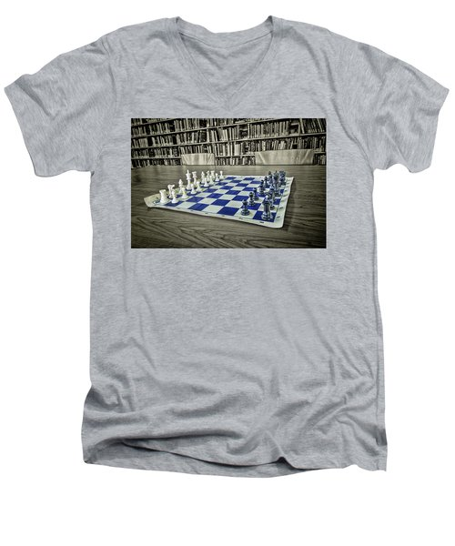 Men's V-Neck T-Shirt featuring the photograph A Nice Game Of Chess by Lewis Mann