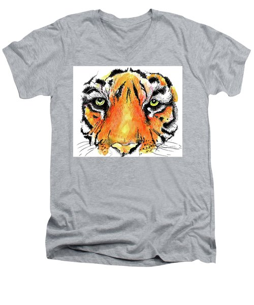 A Nice Tiger Men's V-Neck T-Shirt by Terry Banderas