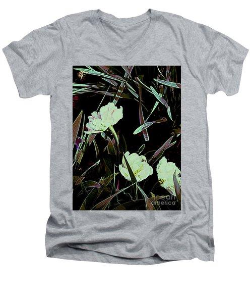 A Noir Mystery Tulip Trio Men's V-Neck T-Shirt by Nancy Kane Chapman