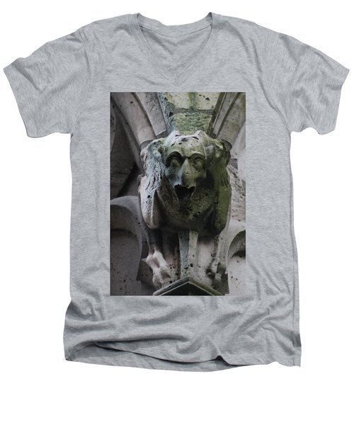 Men's V-Neck T-Shirt featuring the photograph A Notre Dame Griffon by Christopher Kirby