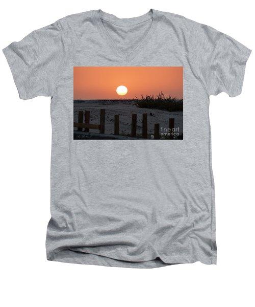 A November Sunset Scene Men's V-Neck T-Shirt by Arik Baltinester