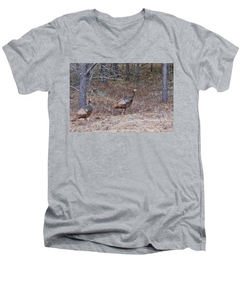 A Pair Of Turkeys 1152 Men's V-Neck T-Shirt by Michael Peychich
