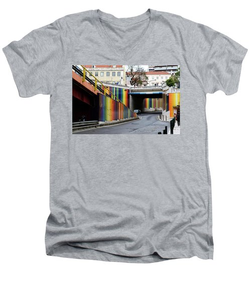 Men's V-Neck T-Shirt featuring the photograph A Throughway Of Many Colors by Lorraine Devon Wilke