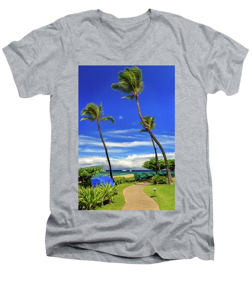 Men's V-Neck T-Shirt featuring the photograph A Path In Kaanapali by James Eddy