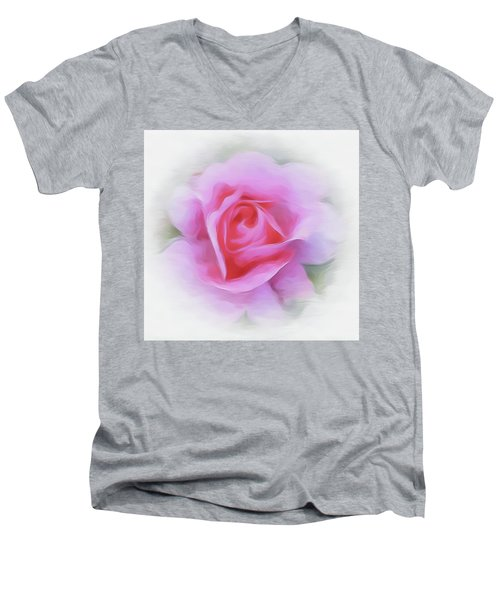A Perfect Pink Rose Men's V-Neck T-Shirt
