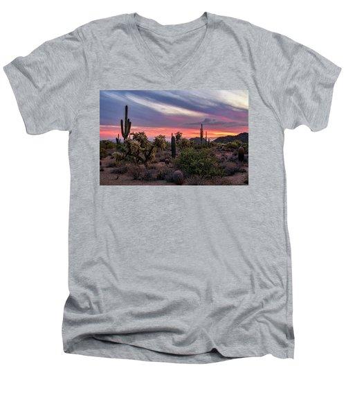 Men's V-Neck T-Shirt featuring the photograph A Pink Kissed Desert Sunset  by Saija Lehtonen