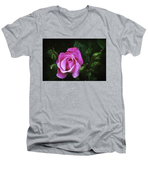 A Pink Rose Men's V-Neck T-Shirt by Trina Ansel