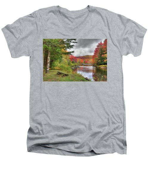 A Place To View Autumn Men's V-Neck T-Shirt by David Patterson