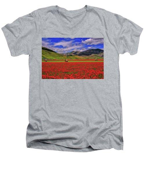 A Poppyy Dream Men's V-Neck T-Shirt by Midori Chan