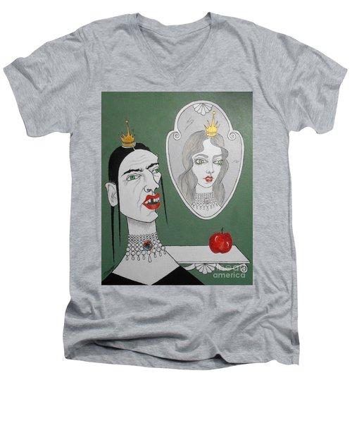 A Queen, Her Mirror And An Apple Men's V-Neck T-Shirt