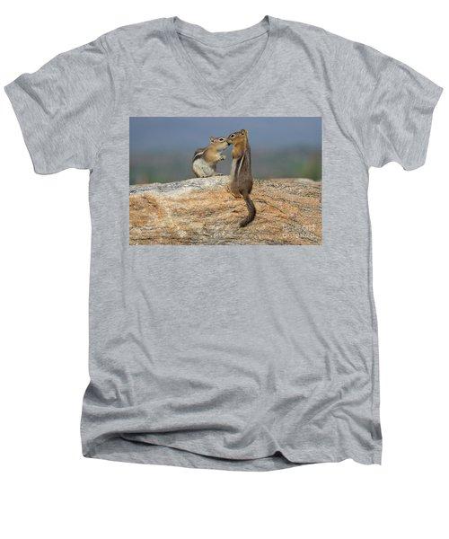 A Quick Kiss Men's V-Neck T-Shirt by John Roberts