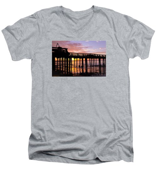 Men's V-Neck T-Shirt featuring the photograph A Quiet And Beautiful Start by Lora Lee Chapman