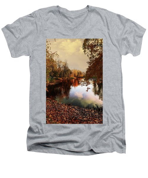 a quiet evening in a city Park painted in bright colors of autumn Men's V-Neck T-Shirt