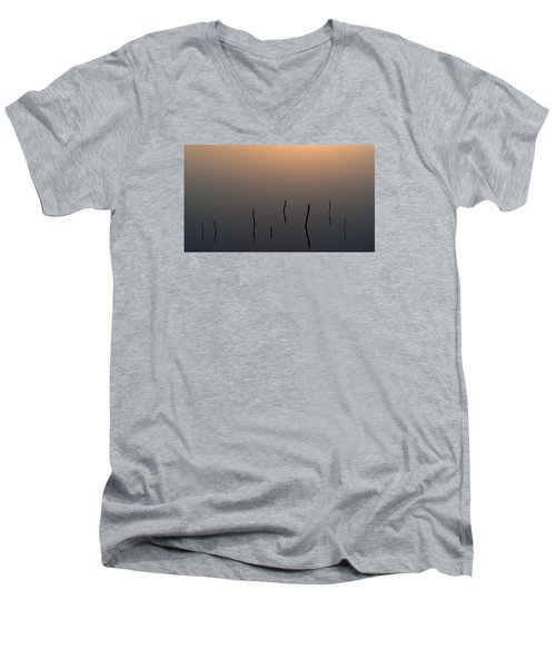 Men's V-Neck T-Shirt featuring the photograph A Quiet Morning On The Ponds by Monte Stevens