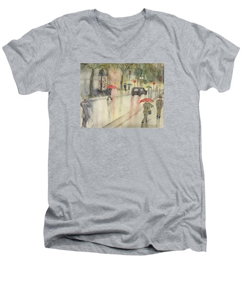 A Rainy Streetscene  Men's V-Neck T-Shirt by Lucia Grilletto