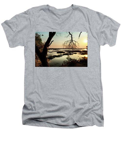 A River Sunset In Botswana Men's V-Neck T-Shirt