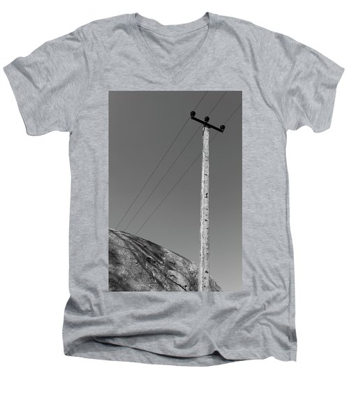 Men's V-Neck T-Shirt featuring the photograph A Rock And A Pole, Hampi, 2017 by Hitendra SINKAR