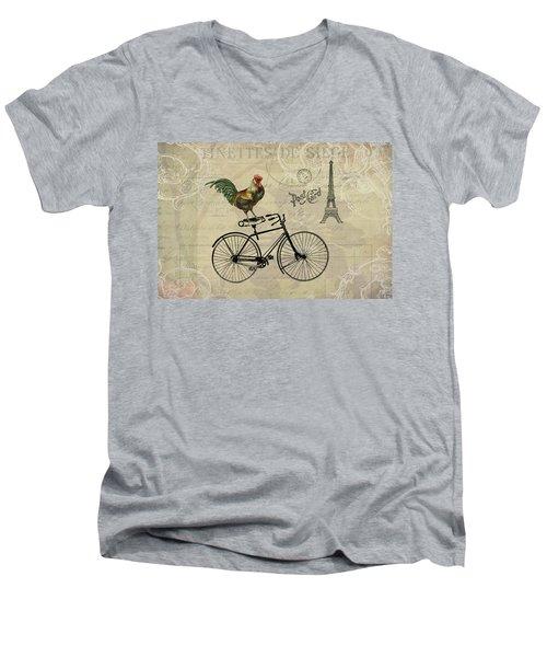A Rooster In Paris Men's V-Neck T-Shirt