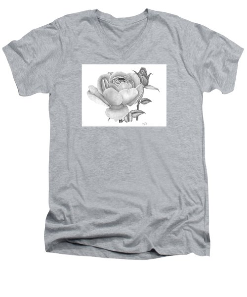 A Rose Bloom Men's V-Neck T-Shirt by Patricia Hiltz
