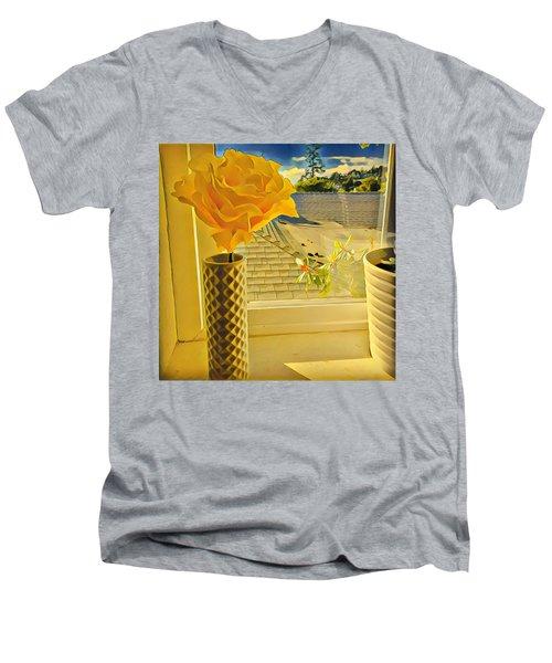 A Rose Is A Rose Electric Men's V-Neck T-Shirt