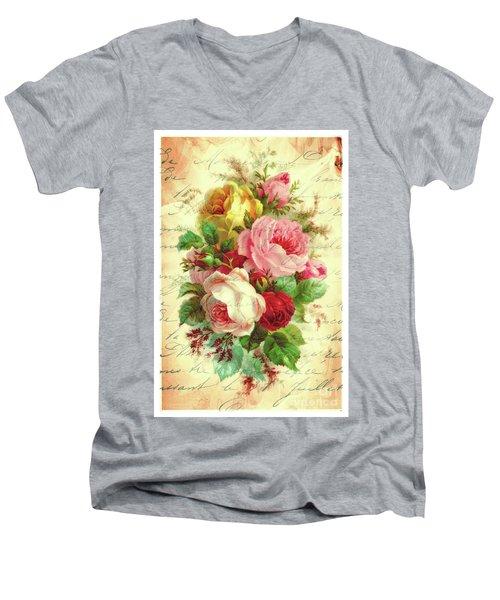 A Rose Speaks Of Love Men's V-Neck T-Shirt by Tina LeCour
