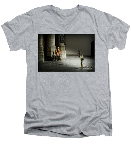 Men's V-Neck T-Shirt featuring the photograph A Scene In Oude Kerk Amsterdam by RicardMN Photography