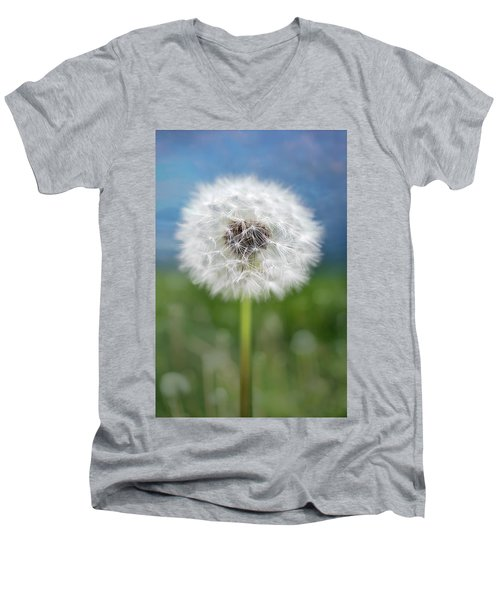A Single Dandelion Seed Pod Men's V-Neck T-Shirt