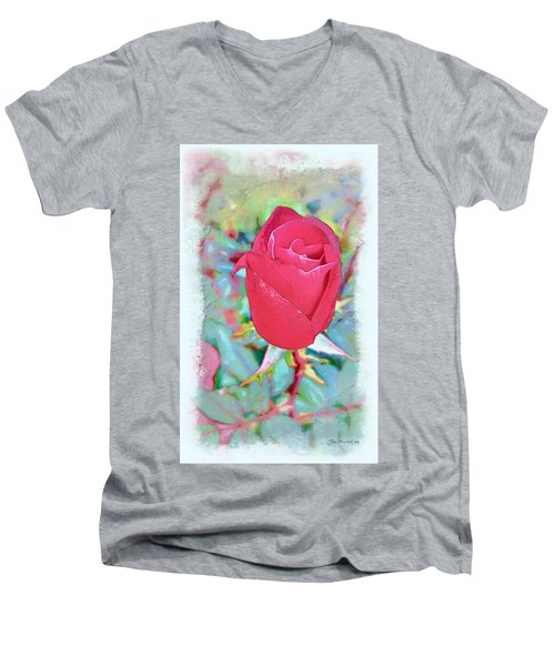 Men's V-Neck T-Shirt featuring the photograph A Single Rose In October by Joan  Minchak