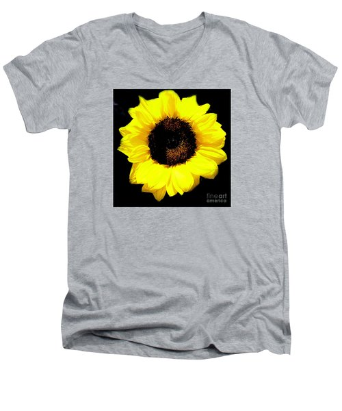 Men's V-Neck T-Shirt featuring the photograph A Single Sunflower by Merton Allen