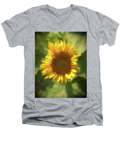 A Single Sunflower Showing It's Beautiful Yellow Color Men's V-Neck T-Shirt